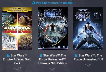 i 3 giochi che avrete se donate più di 12$ nello Star Wars Humble Bundle