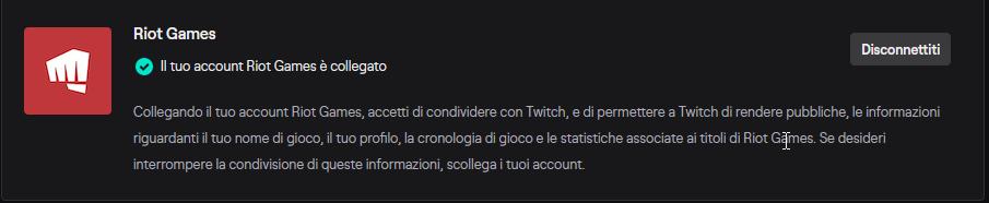 Collegamento account Riot Games